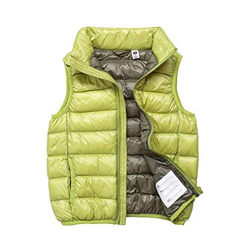 SK Studio Enfant Doudoune sans Manches Chaud Col Garçon Fille Down Coton Gilet Style 3 Vert 170cm / 11-12 Ans