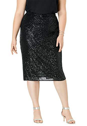 Roamans Women's Plus Size Sequin Pencil Skirt - 28 W, Black