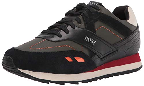 Hugo Boss mens Sneaker, Olive Green/Carbon Black/Cherry Red, 8 US