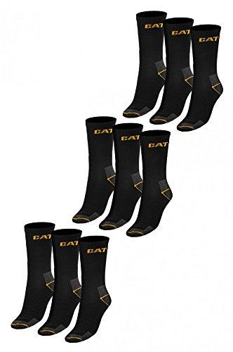 9er Pack CATERPILLAR Arbeitssocken Work Socks Strümpfe Schwarz, Größenauswahl:41 - 45