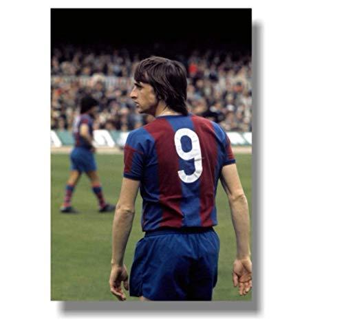 DNJKSA Football Legends Johan Cruyff Póster Impreso en Lienzo Arte en HD Póster Imágenes Imágenes de la Sala de Estar Decoración del hogar 20x30 IN Sin Marco