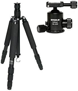 """Feisol Traveler Tripod 4 Section Carbon Fiber Tripod with CB-40D Ball Head, Supports 33 Lbs, Max Height 73.6"""""""