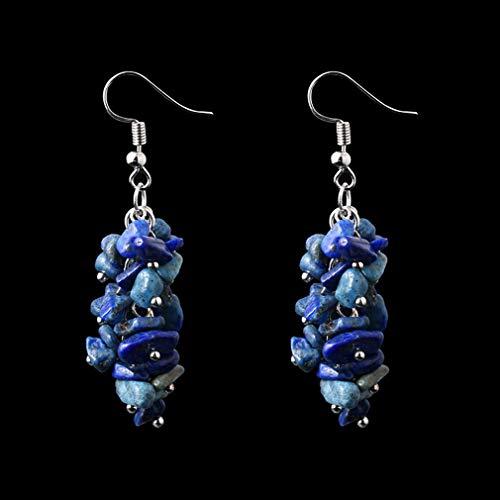 VPbao Women Crystal Pendant Earring Manual Tassel Long Earrings Jewelry Navy Blue