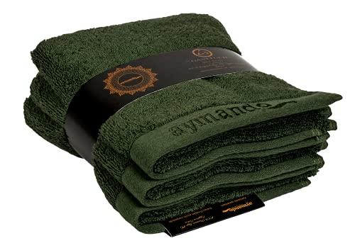 Aymando Scheich Collection Giza 86 - Juego de 3 toallas de invitados, 30 x 50 cm, acabado de lujo, 100% algodón egipcio de 600 g/m², color verde oliva
