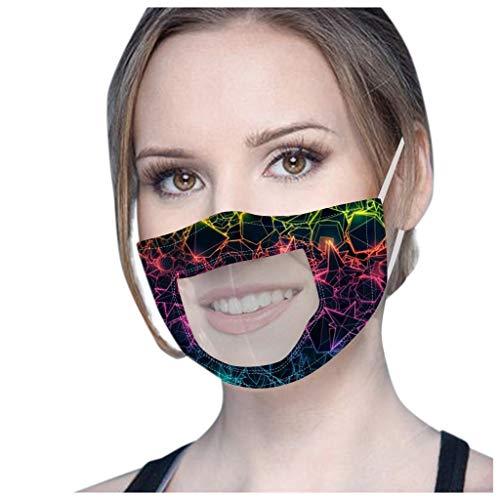 SHUANGA transparent Gesichts Mund, Wiederverwendbare Staubschutzn, Süße Mundschutz Kälteschutz für Unisex wandern Radfahren Camping Outdoor außenbereich Home Office