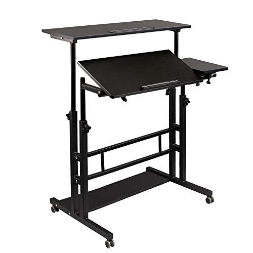 Hadulcet Mobile Standing Desk, Rolling Table Adjustable Computer Desk, Stand Up Laptop Desk Mobile Workstation for Home Office Classroom with Wheels, 31.49 x 23.6 in Black