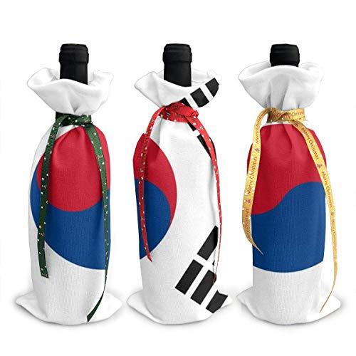 Weinflaschenabdeckung mit koreanischer Flagge, 3 Stück