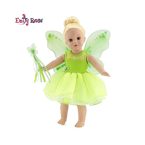 18 Inch Doll Halloween Clothes for American Girl Dolls | Magical Tinker Bell 3 Piece Fairy Princess Doll Costume with Removable Wings, and Magic Wand | Fits Our Generation and Journey Girls Dolls