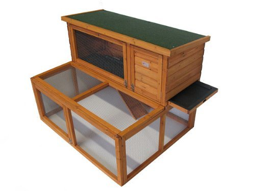 BUNNY BUSINESS Drop Hutch and Run Rabbit/Guinea Hutches, 4 ft