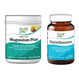 Pure Essence Labs Ionic Fizz Magnesium Plus + CalmEssence Bundle   Sleep Aid / Natural Anti Stress Supplement Powder - Raspberry Lemonade   Suntheanine w/ Adaptogens for Relaxation   Two Month Supply