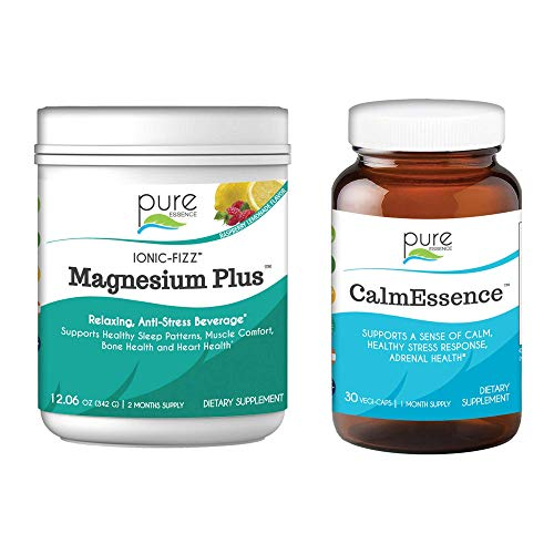 Pure Essence Labs Ionic Fizz Magnesium Plus + CalmEssence Bundle | Sleep Aid / Natural Anti Stress Supplement Powder - Raspberry Lemonade | Suntheanine w/ Adaptogens for Relaxation | Two Month Supply