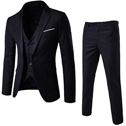 DAY8 Abito Cerimonia Uomo 3 Pezzi per Matrimonio Affari Festa Slim Fit Elegante Vestito Uomo Cappotto Giacca Blazer + Gilet + Pantaloni Set Economico (Nero, M)