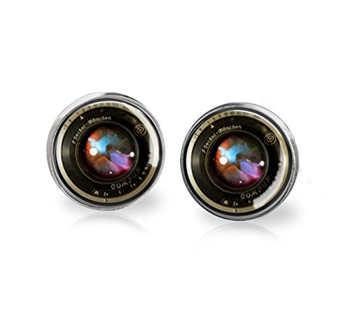 Vintage Camera Lens Glass Dome Silver Post Earrings – Photography Jewelry