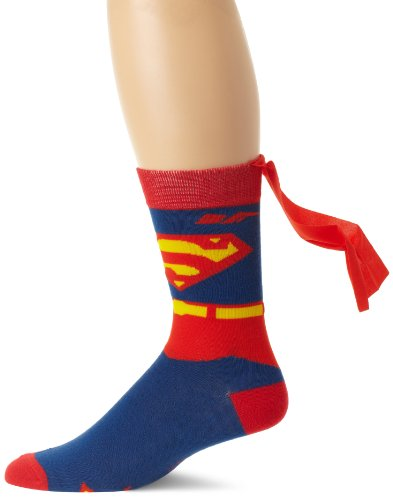 DC Comics Men's Superman Costume Crew Sock With Cape, Blue, Sock Size:10-13/Shoe Size: 6-12