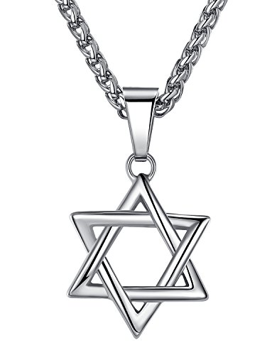 Stainless Steel Star of David Pendant Necklace, Unisex, 24' Link Chain, hhp010