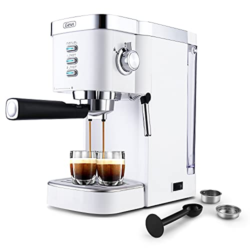 Gevi Espresso Machines 20 Bar Fast Heating Automatic Cappuccino Coffee Maker with Foaming Milk Frother Wand for Espresso, Latte Macchiato, 1.2L Removable Water Tank, 1350W, White