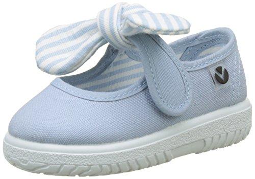Victoria Mercedes Lona Pañuelo, Zapatos de primeros pasos para Bebé-Niñas, Azul (Nube), 24 EU