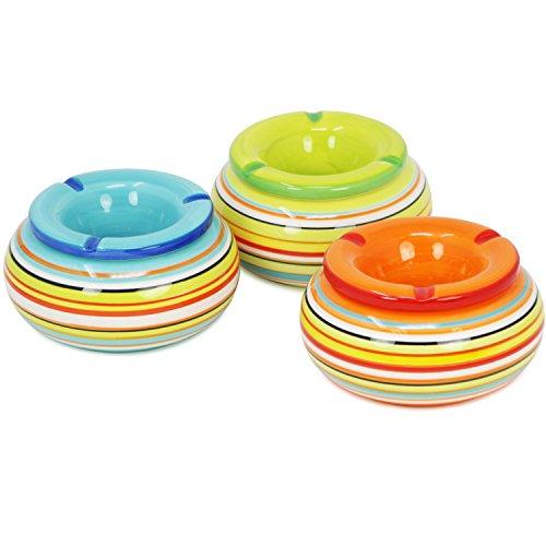 com-four® Ceniceros de Viento 3X Hechos de cerámica en Azul, Verde, Naranja, Cada uno con Rayas de Colores (03 Piezas - Ø 13,5cm)