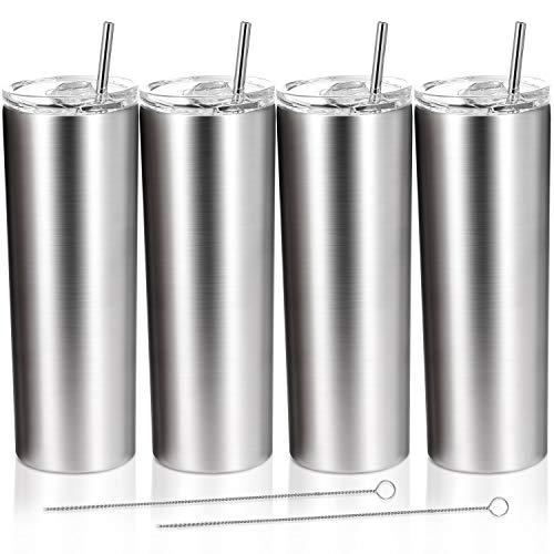 4 Pack Classic Tumbler Stainless Steel Double-Insulated Water Tumbler Cup with Lid and Straw Vacuum...