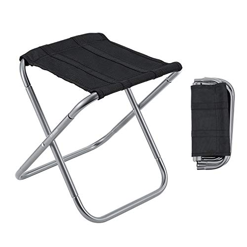 Gonex Folding Camping Stool, Lightweight & Portable Sturdy Chair for Picnic Camping Hiking Backpacking, Compact Traveling Foot Stool, Large Gray