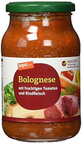 tegut… Nudelsoße Bolognese – Pastasauce mit Rindfleisch – Italienische Tomaten, 1 x 400 g