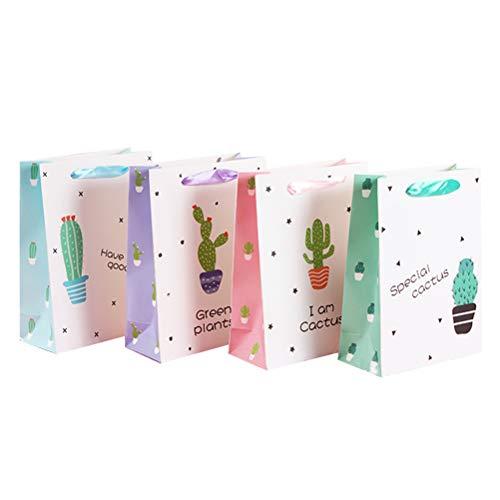 Amosfun Bolsa de Regalo Patrón de Cactus Plantas Verdes Cajas de Regalo de Papel Fiesta de cumpleaños de Boda 12 Piezas (Color al Azar)
