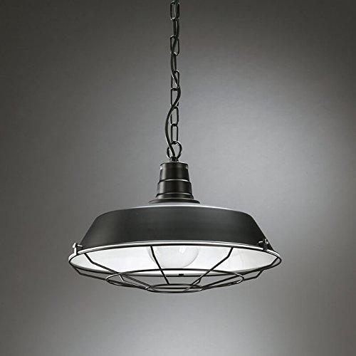 onli – lampe à suspension/Lustre en métal avec grill. Style Vintage, industrielle, rétro pour éclairage de cuisine et salle à manger. 1 x E27. Design Made in Italy. Garantie 24 mois noir