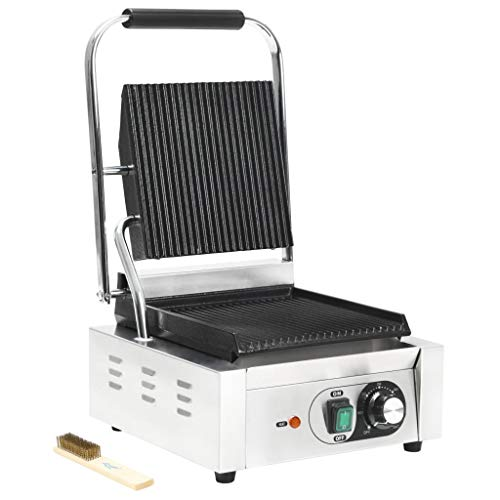 Festnight Griglia Scanalata per Panini e Sandwich Professionale Elettrica in Acciaio Inox 1800W 2200W 32x41x19cm