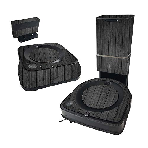 MightySkins Skin Compatible with iRobot Roomba s9+ Vacuum & Braava Jet m6 Bundle - Black Wood | , Durable, and Unique Vinyl Decal wrap Cover | Easy to Apply and Change Styles | Made in The USA