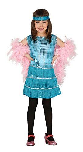 Guirca - Disfraz Charleston con vestido y diadema, para niños de 7-9 años, color azul (81552)