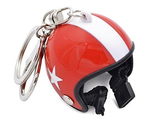 KRS Helm Schlüsselanhänger Mini Helm Motorrad Roller Chopper Bobber (Rot/Weiss)