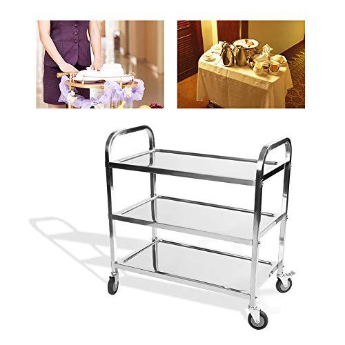 3 Ebenen Edelstahl Catering Rollwagen, Abnehmbarer Servierwagen, mit Rädern und Bremse, für Bad Küche Lagerung, 850 x 900 x 450 mm