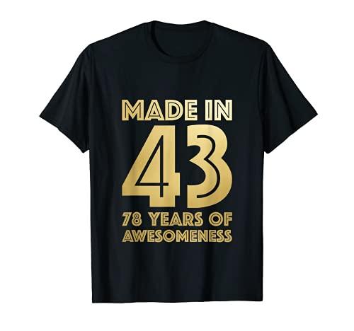 78° Regali di Compleanno Uomo Età Donna 78 Anni Nonno 1943 Maglietta