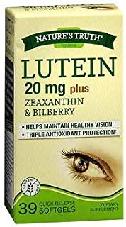 Sponsored Ad - Nature's Truth Lutein 20 mg plus Zeaxanthin & Bilberry Quick Release Softgels - 39 ct, Pack of 2