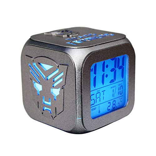 ARAUJOBARGAIN Square LED Alarm Clock, Cubic Alarm Clock with Transformers Silhouette, Colorful Light-up Alarm Clock, Transformers Digital Alarm Clock, Colorful Room Décor (Silver)