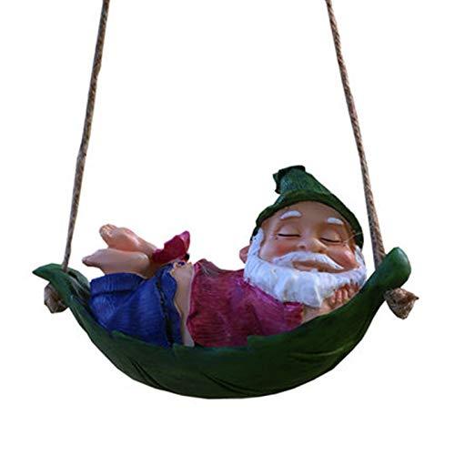 Gartenzwerg, Garten hängende Dekoration Innovative Fee Spielen Schaukel Anhänger Harz liegend Weihnachtsmann Statue Harz Outdoor Garten Dekor für Rasen Terrasse Hof Baum Dekorationen