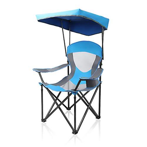 ALPHA CAMP Campingstuhl mit Sonnenschirm, Strandstuhl mit Sonnendach Taschen, Ultraleichter Tragbarer Schatten-Überdachungs-Freienklappstuhl, Ideal für Strand, Camping, Picknick, Blau-Grau