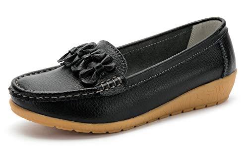 SMajong Mocasines para Mujer Loafers de Cuero Zapato Plano Casual Zapatos de Conducción Cómodos 34-43 EU