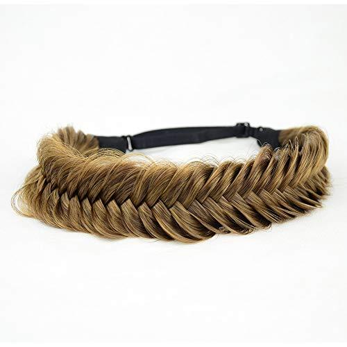 BOBIYA Diadema trenzada de cola de pez ancha para el pelo sintético trenzado, trenzas gruesas y elásticas, accesorio de belleza para mujeres y niñas (Claybank)