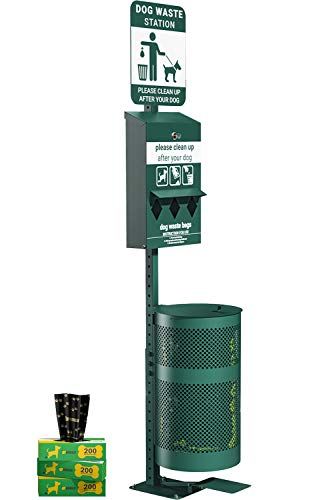 UPGORILO Pet Waste Station with Pedal - 600 Dog Poop Bags and 50 Can Liners - Original Glow in The Dark Dog Waste Station with Dog Poop Sign, Triple Storage Bag Dispenser & Outdoor Trash Can with Lid