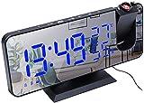 J & J Orologio proiezione Schermo a LED Radio Sveglia Digitale Digital Orologio umidità e Temperatura Rileva per Uso Domestico Camera da Letto,Blu