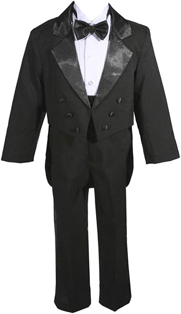 AMJ Dresses Inc Big Boys 5 Pieces Black Wedding Tuxedo W/Tail