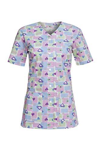 DINOZAVR Carina Uniforme Sanitario Camisa Médica con Botones a presión y Cuello en Y para Mujeres - Corazones Azules XS