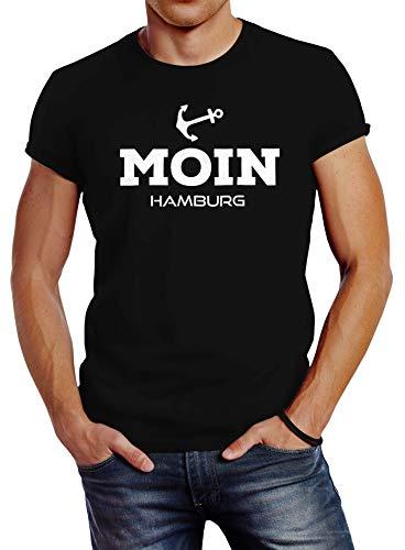 Neverless Herren T-Shirt Moin Hamburg Anker Slim Fit schwarz L