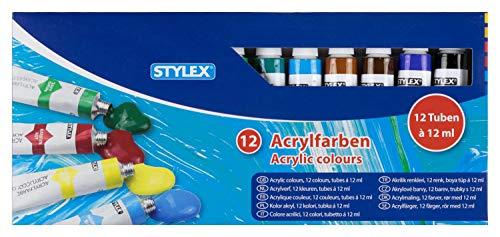 Stylex 28651 - Acrylfarben im Set, 12 Tuben á 12 ml, auf Wasserbasis hergestellt, matt, hohe Deck- und Farbkraft, lichtbeständig, schnelltrocknend und wasserfest