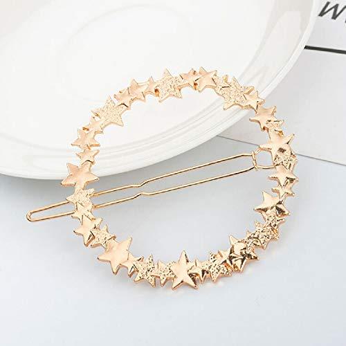 Exc elegante ronde ster haarspeld dames luxe metalen haarspeld glamour glanzende legering haar ring mode meisjes haaraccessoire Goud goud