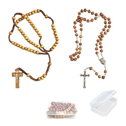 PPX 2 Pcs Madera de Olivo Tallada Cuentas oración Rosario católico Collar Suelo Santo Medalla y Cruz de Metal-con Caja