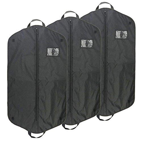 AnTeck nero traspirante in nylon Oxford piegato Suit bag Covers Protector per abiti, borse a prova di polvere con top Hanger fori e maniglie per viaggiare, confezione da 3110cm x 60cm