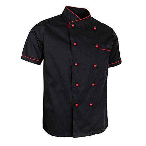 Bonarty Kochjacke Bäckerjacke Herren Damen Kochkleidung Küche Arbeitsjacke Gastronomie Küchenjacke für Hotel Restaurant - Schwarz, M