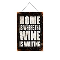 家はワインが待っているところです木製のリストプラーク木の看板ぶら下げ木製絵画パーソナライズされた広告ヴィンテージウォールサイン装飾ポスターアートサイン